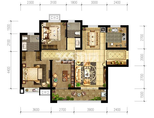 清凉云晖三室两厅125㎡户型图