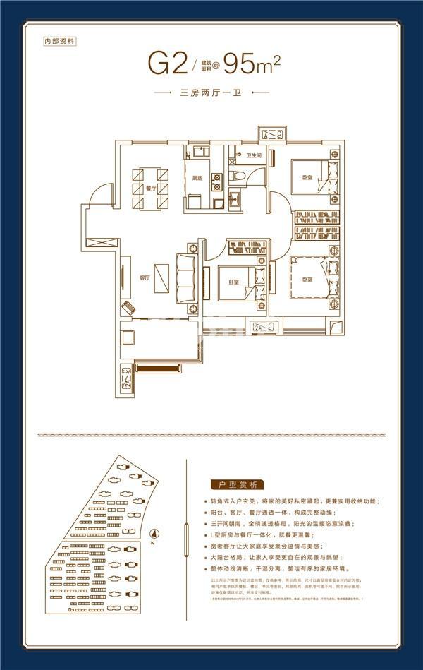 孔雀城时代北宸G2户型95㎡三室两厅一卫