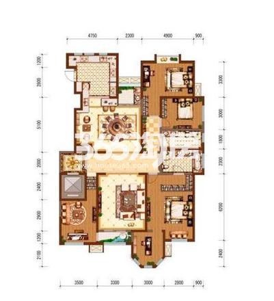 国金华府4室2厅3卫1厨220㎡户型图