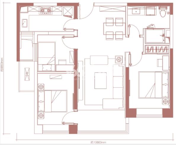 卓越坊98㎡3室2厅1卫户型图