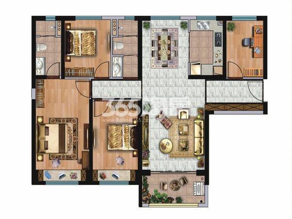 碧桂园凤凰城4室2厅2卫1厨136.00㎡户型图