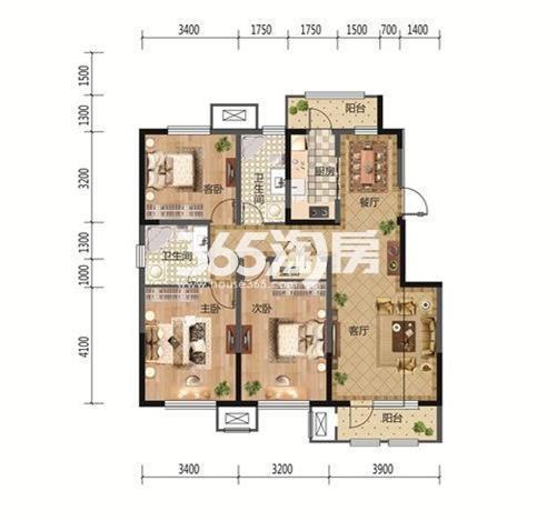 3室2厅1厨2卫 123.38平米
