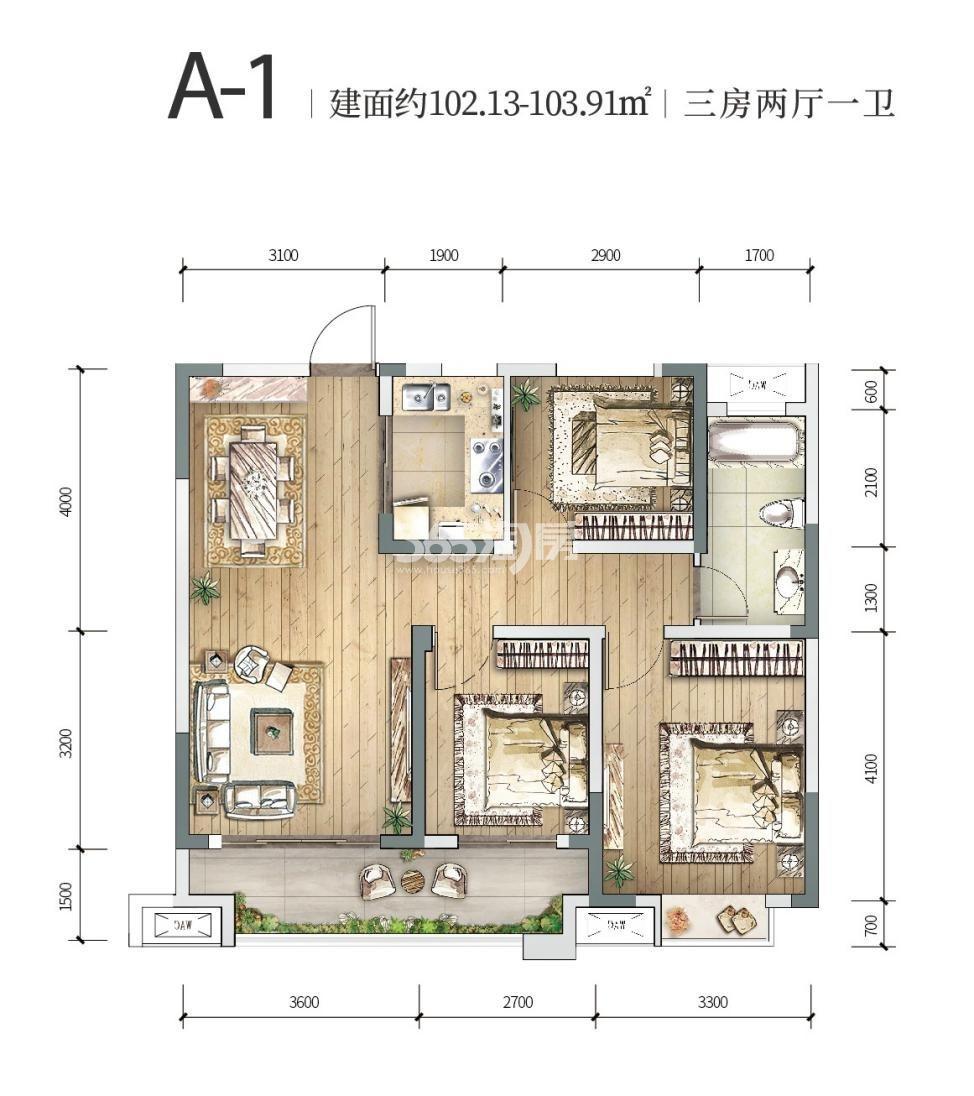 中铁燕南苑A-1三室两厅 102.13-103.91㎡