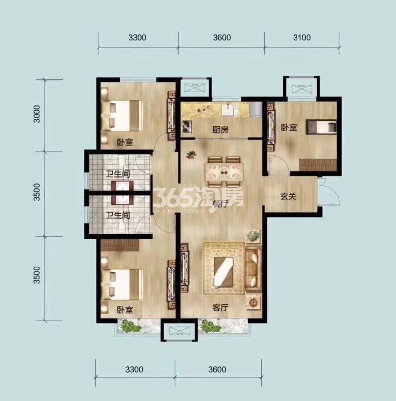 103平米三室两厅两卫