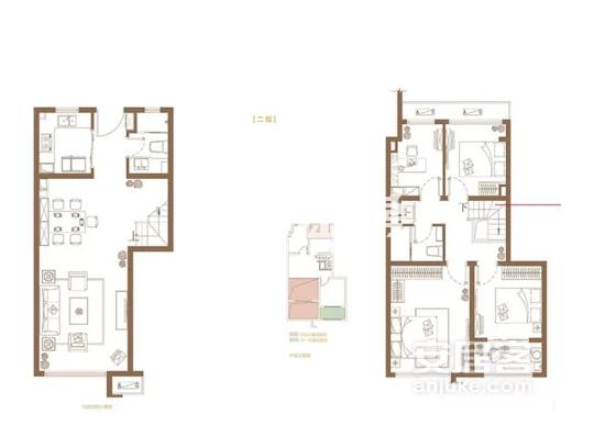 复式B户型, 4室2厅2卫1厨