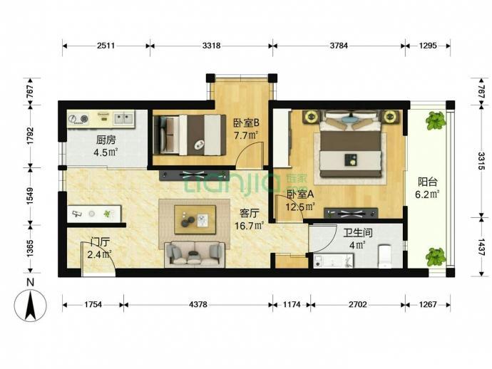 康博花园亲情公寓2室1厅