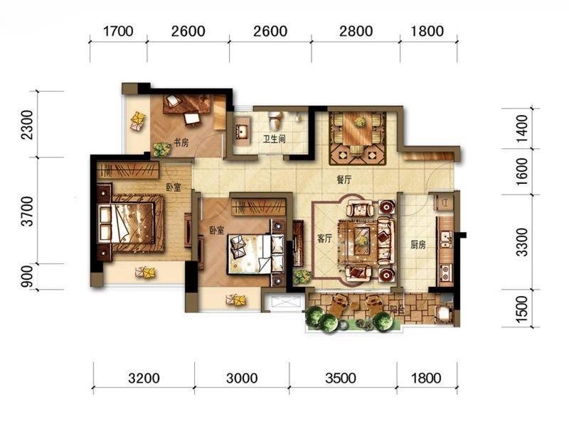 B2户型三室两厅一卫 84平