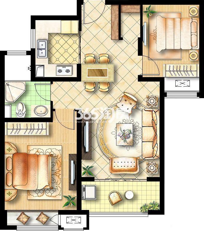 两室两厅一卫87平