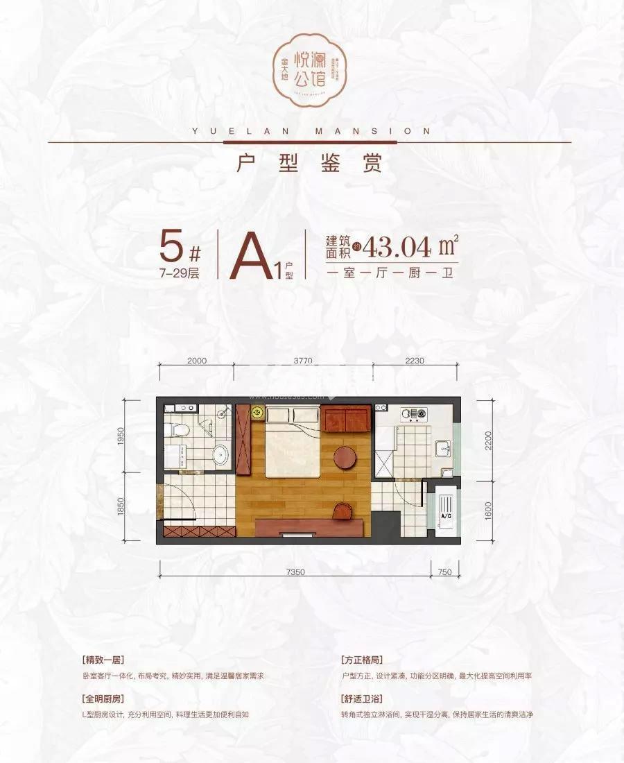 金大地悦澜公馆43.04㎡A1户型图