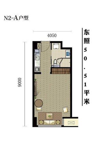 51平米 1室1厅1卫