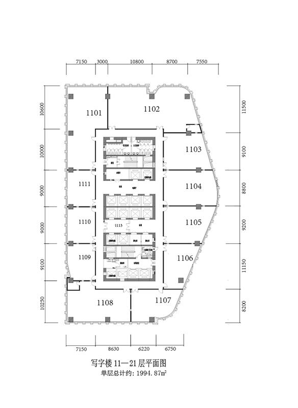 写字楼11-21层平面图
