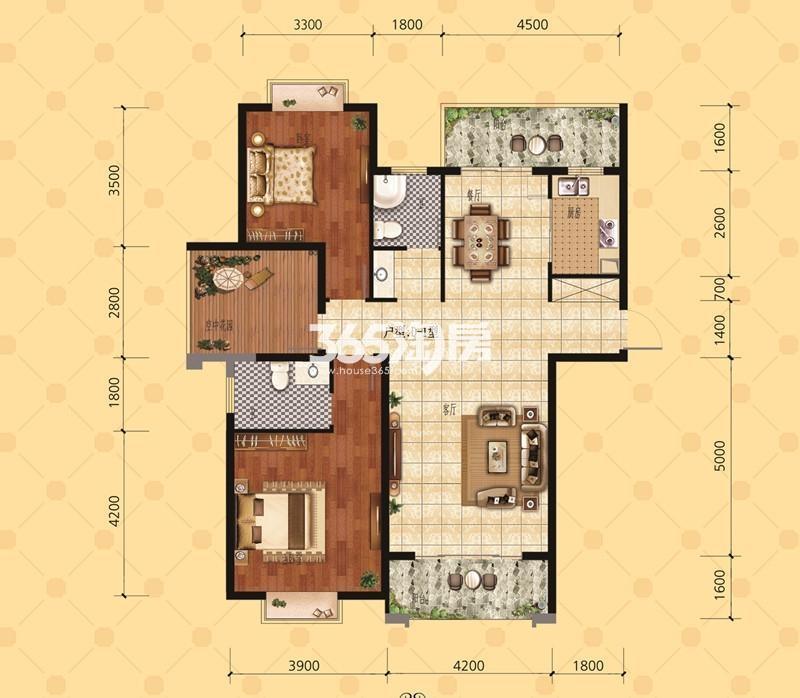 和顺沁园春29A户型118.49㎡两室两厅双阳台一花园