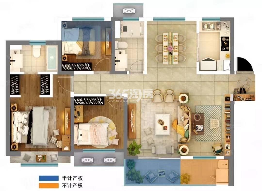 新里城兰亭公馆四室两厅126㎡户型图