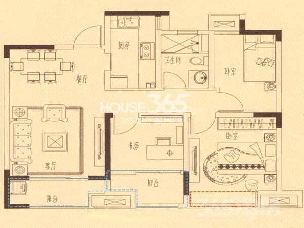 中海玺园3室2厅1卫86平米2016年产权房精装