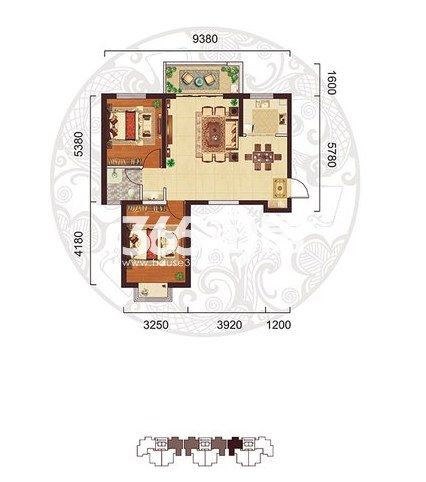 阳光台365 B户型两室两厅两卫86.68㎡