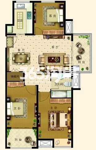 C1户型 3室2厅1卫1厨