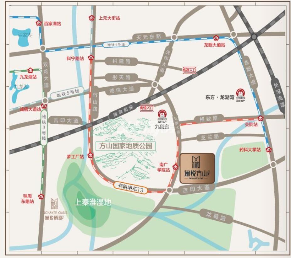 五矿澜悦方山交通图