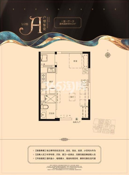 恒大滨江51㎡1室1厅1卫户型图