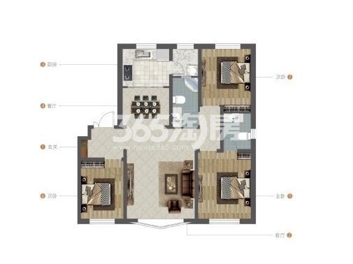 紫荆雅苑三室两厅两卫109.26洋房