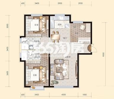 2#高层标准层B3户型110平米