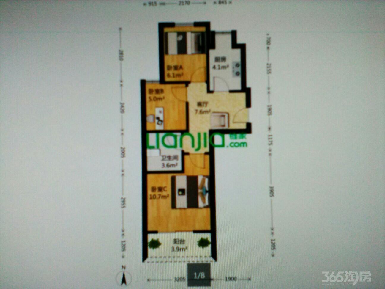 中兴景冉佳园3室1厅1卫61.11平米2013年产权房简装