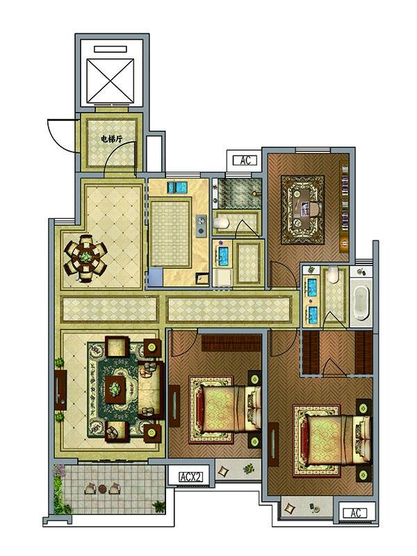 户型图 H户型  3室2厅2卫 约133.72平米