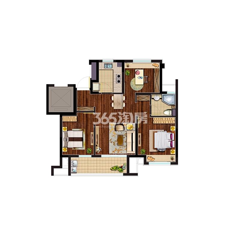 D户型 3室2厅1卫 78m2