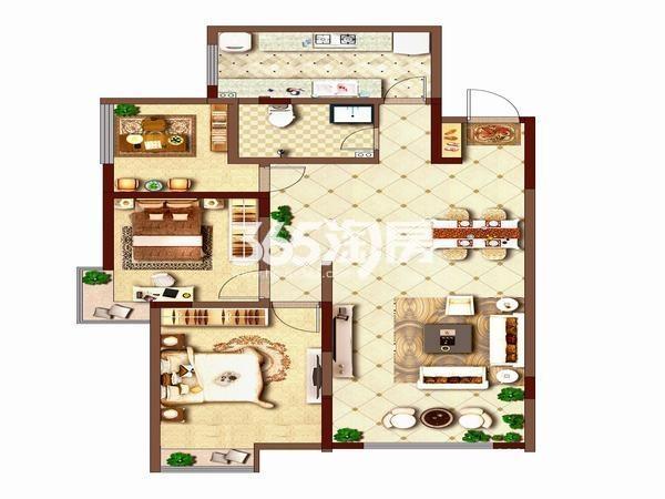 荣华碧水蓝庭三室两厅一厨一卫111平方米户型