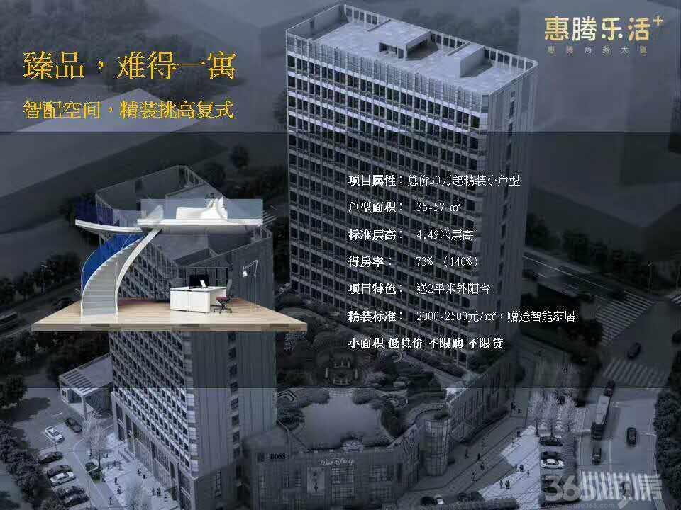 昆山惠腾大厦 城北汽车站旁 高端精装loft公寓 售楼处热线:158-5033-5827《同微信》惠腾商务大厦总占地面积为87 92.8平方米,总建筑面积33 641.7平方米。整个项目外墙采用富思特真石漆(北京奥运会鸟巢使用的外墙漆)具有防酸碱,玻璃采用南玻3银,是国际级水平,不仅有最好的透光效果还有顶级的隔热与保温效果全部采用智能家居,总价50万起,得房率73%,绿化率25%,容积率3.