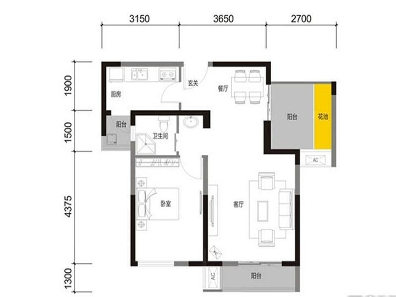 5号楼P1  1室2厅1卫 68.9平米