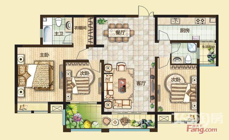 绿都万和城三区3室2厅2卫128.03㎡