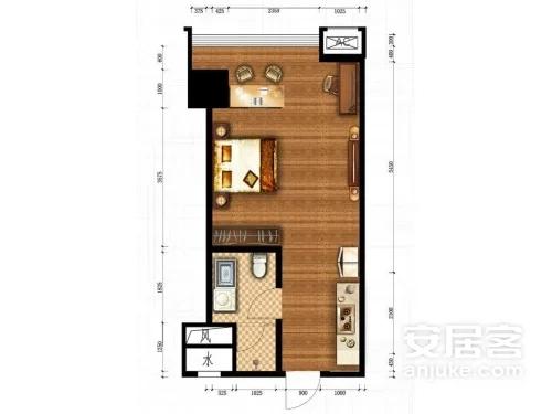 公寓B户型, 商住, 建筑面积约49.67平米