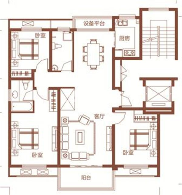 枫林学府D1-1户型 三室两厅两卫 121.63㎡