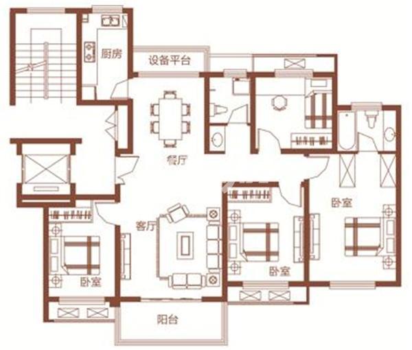 枫林学府D2-1户型 四室两厅两卫 131.77㎡