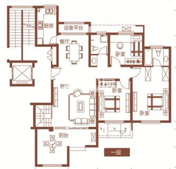 枫林学府D2-5户型 四室两厅两卫 191.04㎡