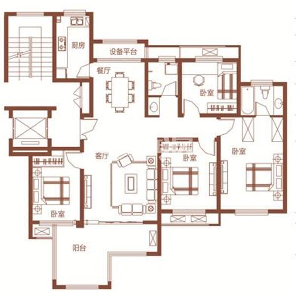枫林学府D2-3户型 四室两厅两卫 135.92㎡