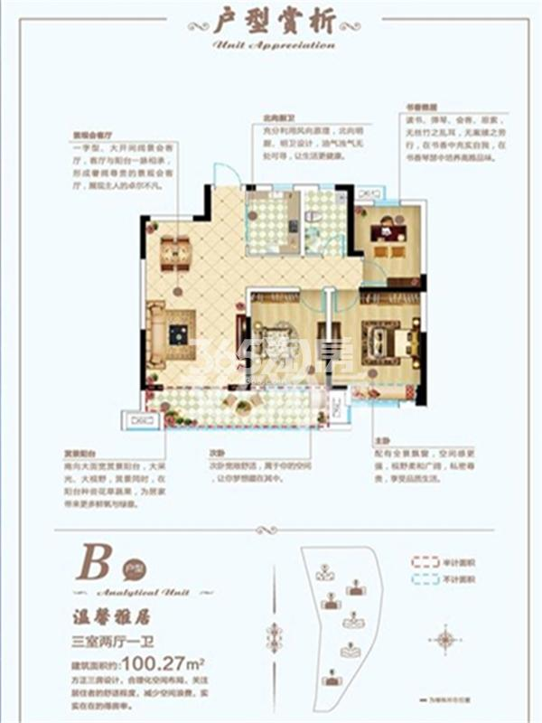 学翰府邸 B户型 三室两厅一卫 建面约100.27㎡
