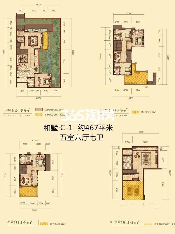 曲江公馆和园别墅C户型5室6厅7卫1厨467.00㎡
