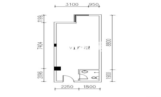 金叶新城V1户型一室一厅一卫一厨60.8平