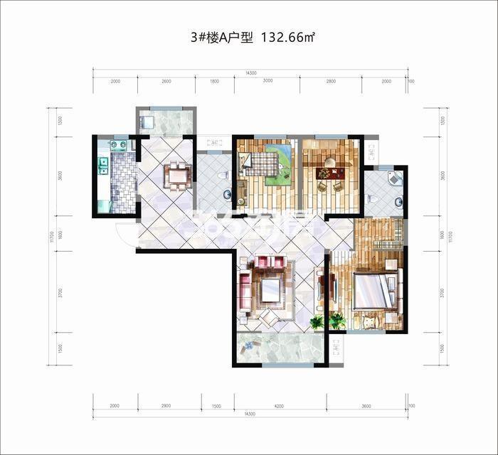 华安紫竹苑3#楼A户型3室2厅2卫1厨132.66㎡