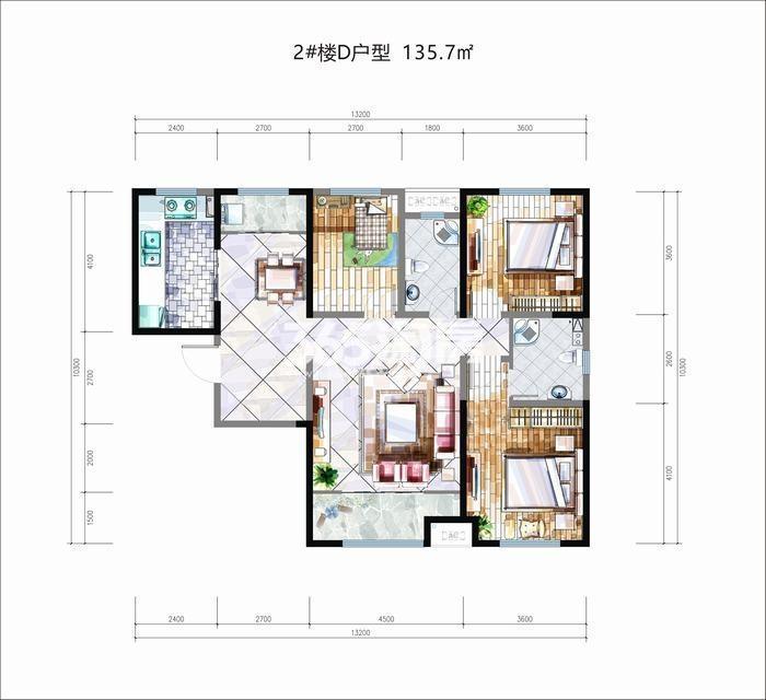 华安紫竹苑2#楼D户型3室2厅2卫1厨135.70㎡
