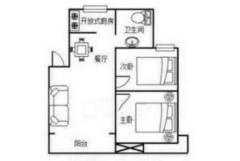 百惠花园2室2厅1卫75�O整租简装
