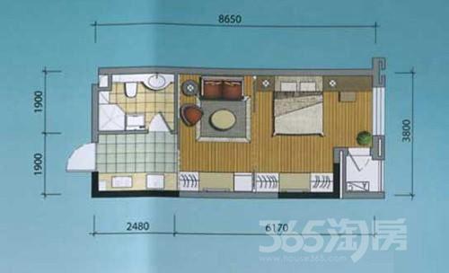 优诗美地1室1厅1卫43.18平米2010年产权房简装