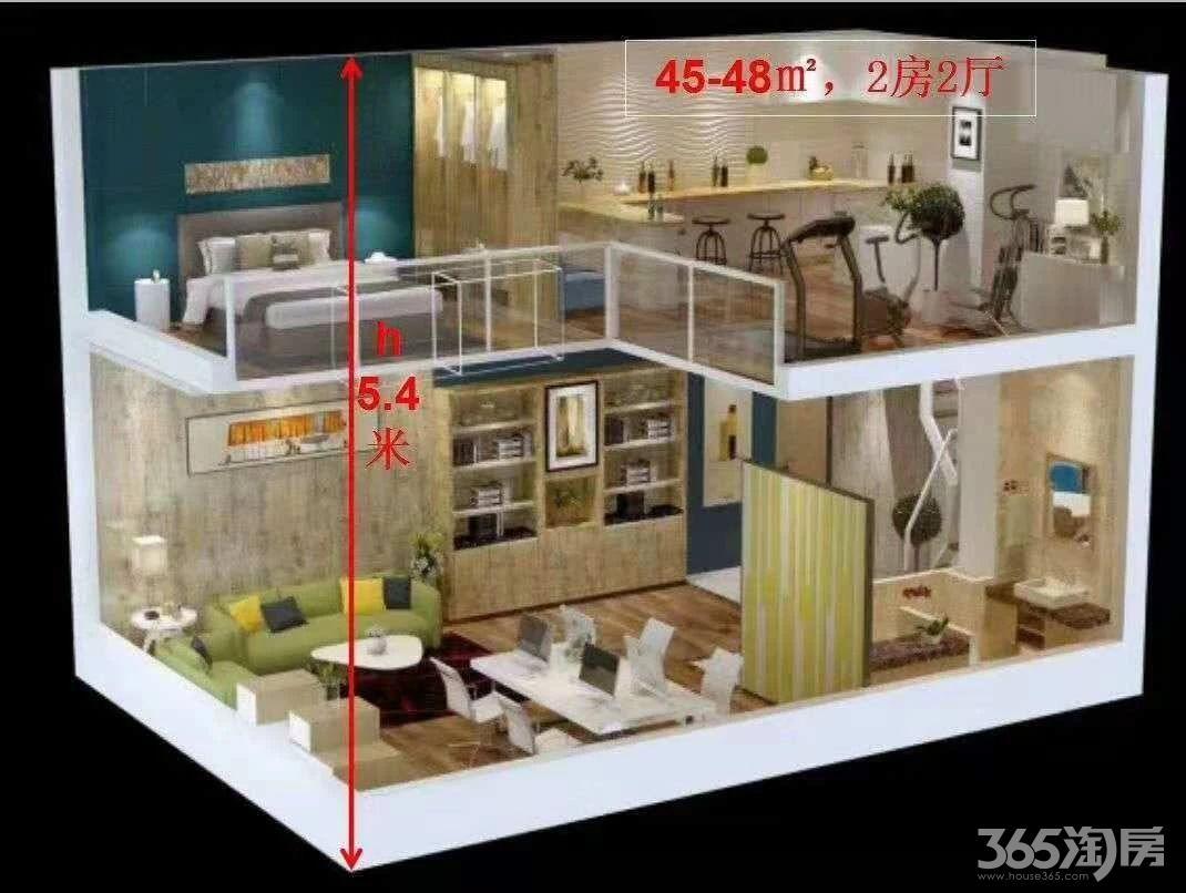 高新区,银泰城,地铁口,挑高5.4米,做2层,带阳台公寓