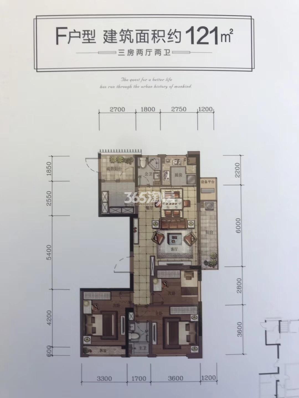 汇高栢悦中心项目9号楼F户型121方户型图
