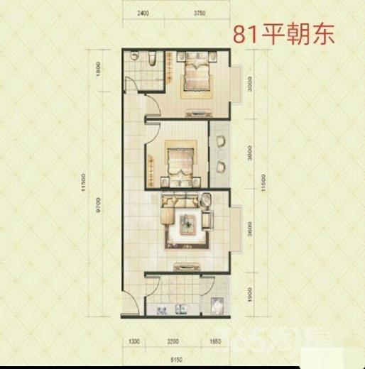 阳光80公寓2室1厅1卫82平米2014年产权房毛坯