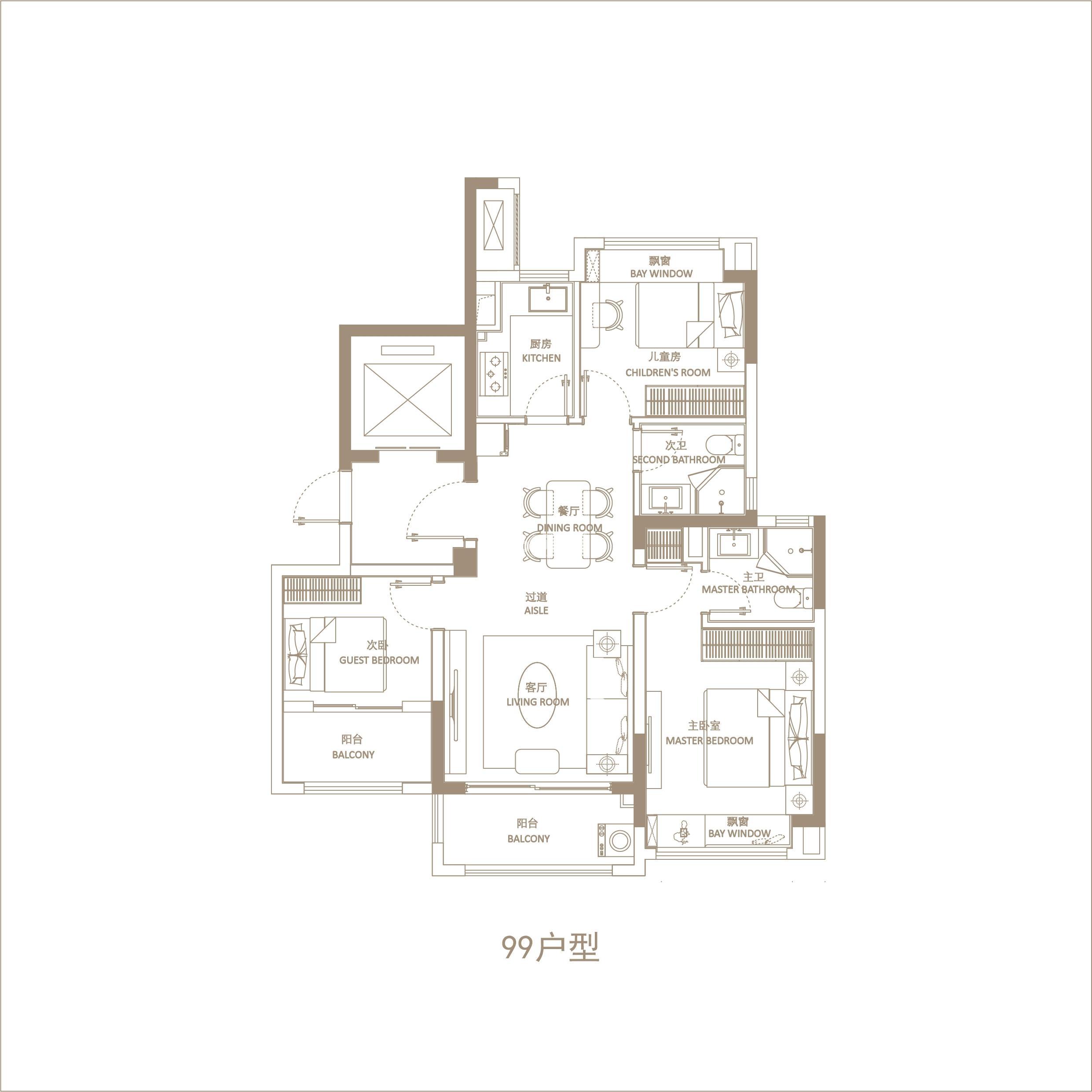 悦辰府99㎡三室两厅两卫户型