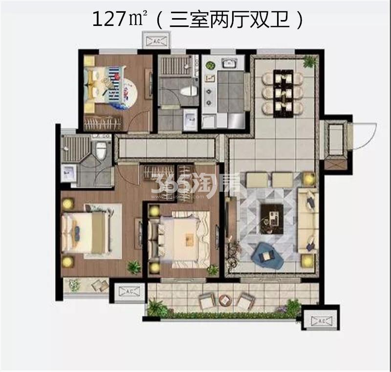 雲珑府127㎡三室B2户型图