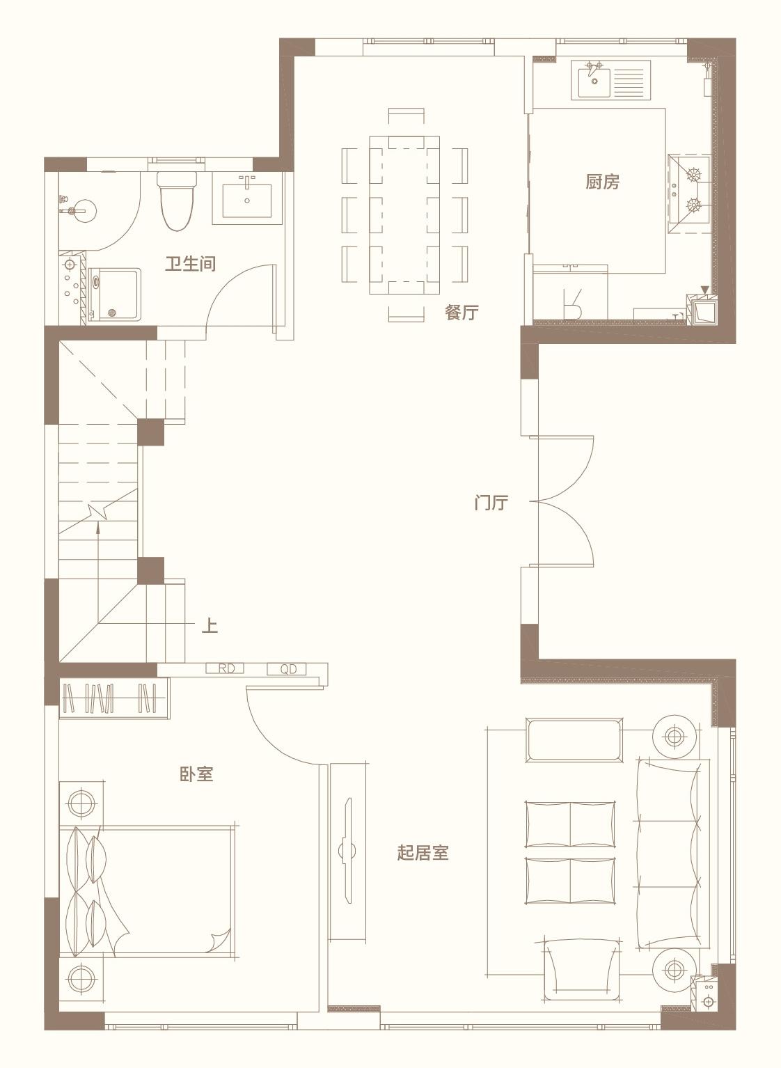 别墅五室四卫三厅220平米 一层