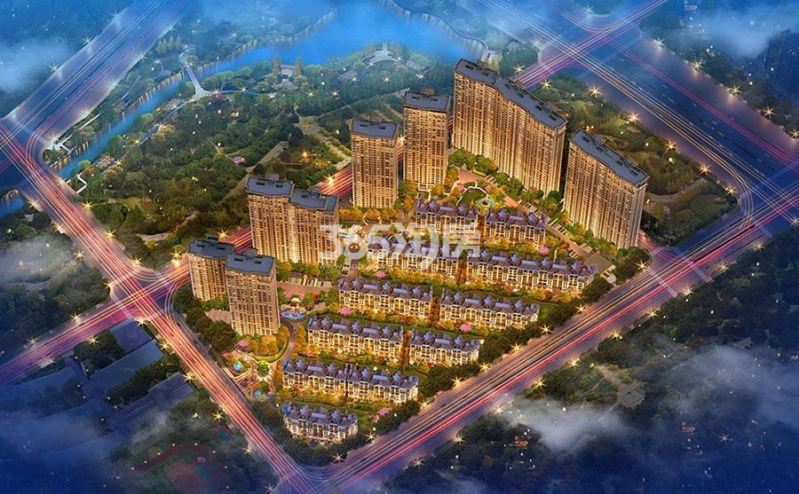 中国铁建西湖国际城鸟瞰效果图